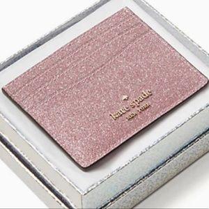 Kate Spade ♠️ Rose gold glitter card holder